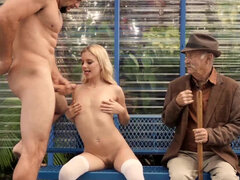 Tiny Riley Star fucked on the bus stop in front of her grandfather