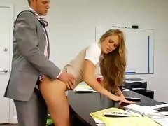 Breasty secretary gets bent over and besides fucked by her excited boss