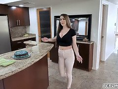 Buxom MILF Brianna Rose noticed that her stepson is horny so she welcomes him with a juicy blowjob in the kitchen.