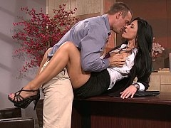 Leggy secretary makes love her boss
