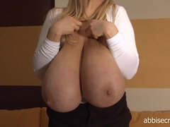 The biggest natural tits you will ever find! True monster tits on curvy blonde