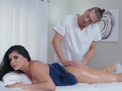 Romi Rain lets her student oil her up & fuck her on the massage table