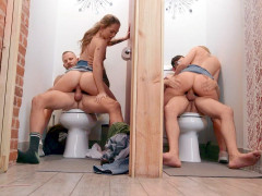 Joey White and Sami White are riding cocks in the toilet
