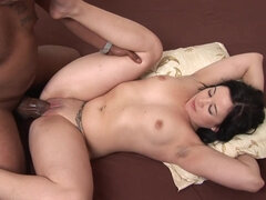Curvy young brunette slut with chubby ass enjoys interracial