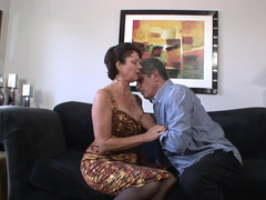 A granny is getting fucked by a excited grown-up guy on the sofa