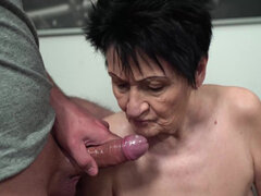 Super hot granny Anastasia loves to ride and get fucked hard by young lad