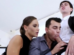 Office studs engage in a wacky bi 3some with classy chick