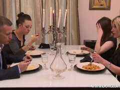 Dinner turned into wild anal threesome fuck. Sexy lady worships 2 cocks at once