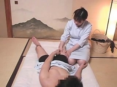 Japanese Oriental grown-up giving blowjob to lucky fella