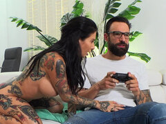 Joanna Angel distracts bf from play and gets anal fuck