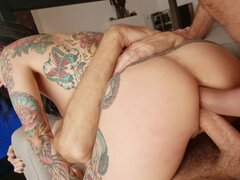 Slut rammed in all her holes by boyfriend and his buddy
