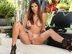 Big-boobed model Alexa Vega penetrated goodly on the poolside