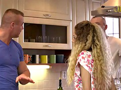 DADDY4K. Curly-haired babe cheats on muscular BF with his handsome dad
