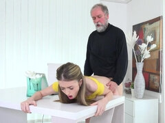 Old schlong drills hard Vlada's youthful pink gash after licking it out