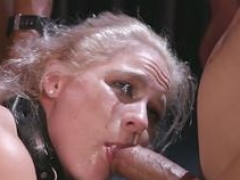 Blonde in gimp mask rectal gangbang fucked