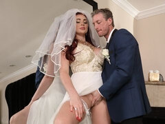 Redhead with gorgeous big tits Skyla Novea fucks before the wedding ceremony