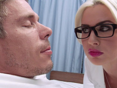 A blonde doctor is studying a guy, even more specially, his purple rod