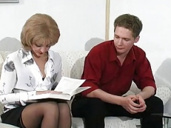 Russian mature Esther fucked on coach