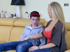 Blonde woman is fucking two horny guys