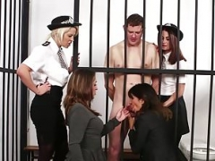 CFNM police kittens dominate undressed prisoner