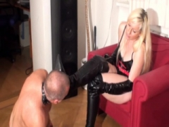 Bizarrlady Jessica order slaves to lick her boots clean