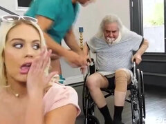 Blonde is taking care of her doctor
