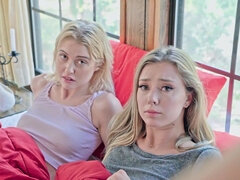 Young blonde Codey Steele and Chloe Cherry have sex with their stepbrother