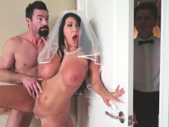 Big titted bride August Taylor getting pussy banged standing