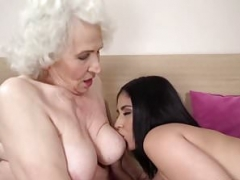 Lusty granny gets soaked by a younger gal