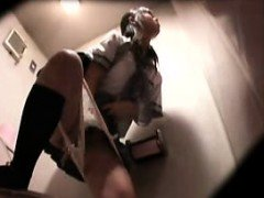 Spycam in a restroom films a duo chicks taking