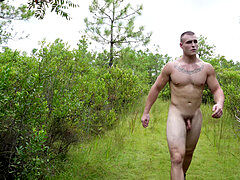 Military Muscle dude Gives Himself a clit Necklace in the woods