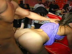 Party girl in a pretty purple dress bent over and fucked doggystyle