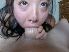 SPUNK dripping out of her NOSE!! INTENSE point of view THROATFUCK for sukisukigirl