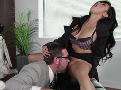 Sweet Asian secretary with a bush fucked by her boss