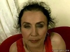 Ugly granny giving blowjob and furthermore riding immature love tool