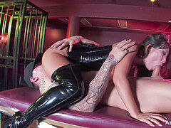 Asa Akira gets nailed on top of a encaged Sophia Santi