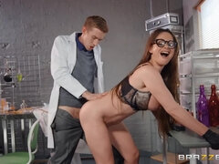 Buxom Hungarian MILF with glasses fucked in the laboratory