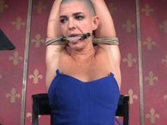 Bald bdsm sub pegged down up and furthermore whipped by maledom