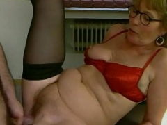 Aged Red Satin Underwear & Stockings Fucked in the Office