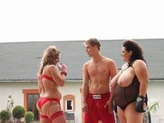 Female domination ssbbw plowed outdoors in threesome