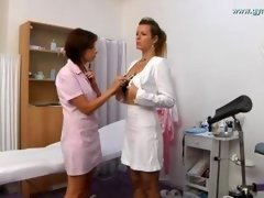 Secretary anal and also gyno checkup by female doctor with speculum