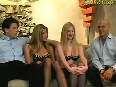 Foursome With A couple of Blondes Taking It In Both Holes1 windows media video
