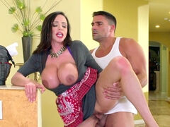 Busty brunette is satisfying her young neighbor