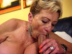 Nasty old granny is getting penetrated on the sofa today