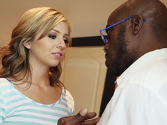 Black man demonstrates cutie what a really big cock means