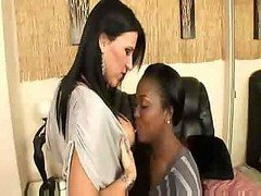 Aryana Starr & as well Kendra Secrets do a little black & as well white cum bucket play