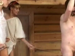 Russian tied slave spanked & dick humiliated in the sauna