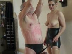 Rough brutal spanking session with grown-up grand moreoverpa and moreover blond german aged female domination lady