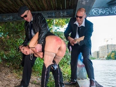 Kinky masters Tommy O. and Smorlow pick up naughty Bonny Devil from the pizza shop