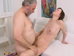 Barely legal Jenya's snatch takes balls deep old man's dick & gets face cum